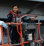 U.S. Navy Seaman Rachel Priester operates a boom lift alongside the aircraft carrier USS George H.W. Bush (CVN 77) at Naval Station Norfolk, Va., during routine exterior upkeep Oct. 2, 2013 131002-N-MW819-010.jpg