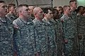U.S. Soldiers deployed with the 218th Maneuver Enhancement Brigade as part of NATO's Kosovo Force, sing the Army Song at the conclusion of a graduation from the Warrior Leadership Course at Camp Bondsteel 130323-A-SC231-004.jpg