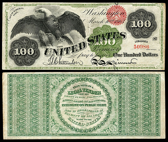1863 $100 Legal Tender note
