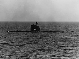 USS Cutlass (SS-478) - USS Cutlass (SS-478) underway on 9 May 1962
