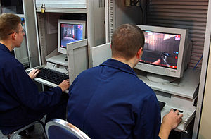 Unreal Tournament - USS San Jacinto (CG-56) crewmembers playing the game, 2002