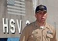 US Navy 050115-N-9662L-006 Commanding Officer, High Speed Vessel Two (HSV-2) Swift, Cmdr. Mark Sakaguchi, speaks to media during a brief port visit at Naval Station Pearl Harbor, Hawaii.jpg