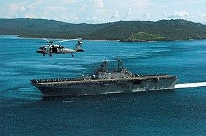 Capul Island Lighthouse - USS Essex as it passes Capul Island Lighthouse in November 2006