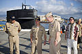 US Navy 070507-N-4856G-004 Cmdr. Doug Perry, commanding officer of Los Angeles-class attack submarine USS Pasadena (SSN 752), greets Chief of Naval Operations (CNO) Adm. Mike Mullen as they make their way to the mess decks.jpg