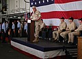 US Navy 070614-N-0998G-024 Commander, Expeditionary Strike Group 2, Rear Adm. Garry Hall speaks to the crew of amphibious assault ship USS Bonhomme Richard (LHD 6) during a change of command ceremony.jpg