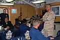 US Navy 071224-N-7095C-002 Master Chief Petty Officer of the Navy (MCPON) Joe R. Campa Jr. addresses the chiefs' mess aboard guided-missile cruiser USS Hue City (CG 66).jpg