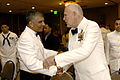 US Navy 080614-N-9818V-247 Master Chief Petty Officer of the Navy (MCPON) Joe R. Campa Jr. greets MCPON Thomas Crow at the 110th Hospital Corpsman Birthday Ball held at the Paradise Point Resort.jpg