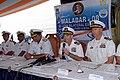 US Navy 081018-N-1635S-008 Capt. John P. Nolan, commanding officer of the guided-missile cruiser USS Chancellorsville (CG 62), speaks alongside Rear Adm. Anil Chopra, flag officer in command of the Indian Navy's Western Fleet,.jpg