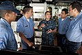 US Navy 100802-N-5319A-046 Culinary Specialist 2nd Class Edwin Mayorga gives a tour of the amphibious transport dock ship USS New Orleans (LPD 18) to Colombian navy sailors during a port visit to Bahia Malaga Naval Base.jpg