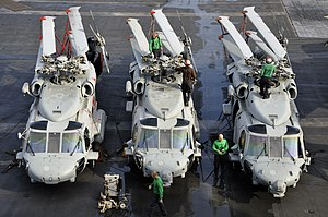US Navy 110809-N-ZZ999-009 Sailors perform maintenance on MH-60S Sea Hawk helicopters aboard USS Ronald Reagan (CVN 76).jpg