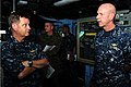 US Navy 110929-N-WA347-008 Rear Adm. J. Scott Jones and Vice Adm. Scott H. Swift speak on the bridge during a visit to the forward-deployed amphibi.jpg