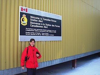 Alert, Nunavut - A sign at CFS Alert commemorating Alert as the northern-most permanently inhabited settlement in the world. The area has been inhabited since 1950.
