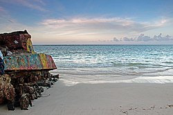 US military tank on Flamenco Beach