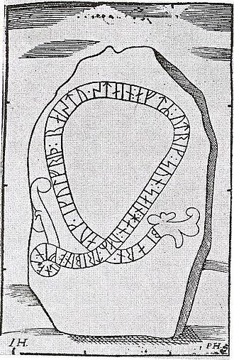 Runestone U 582 - Drawing of the Runestone U 582 from the 17th century.
