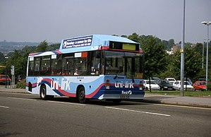 """Unilink - Dennis Dart 9SDL, converted to run on LPG, in First Hampshire """"Uni-link"""" livery,"""