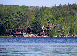 Upper Saranac Lake - Wenonah Lodge, a great camp on the southwest shore built for Jules Bache about 1915, now privately owned.