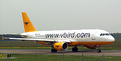 En Airbus A320 fra luftfartsselskabet VBird.