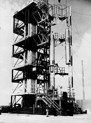 Vanguard SLV-3 - Second stage of Vanguard being hoisted into position