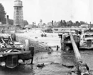 Vanport, Oregon - Overturned cars in the aftermath of the Vanport flood, 1948