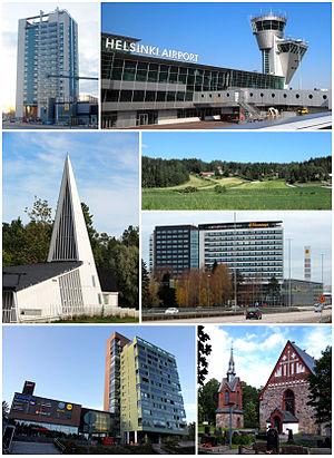 Vantaa - Clockwise from top-left: Kielotorni in Tikkurila, Helsinki Airport, Sotunki, Flamingo and Jumbo shopping centers, the Church of St. Lawrence, Ostari shopping center in Martinlaakso, and the Vaarala Church.