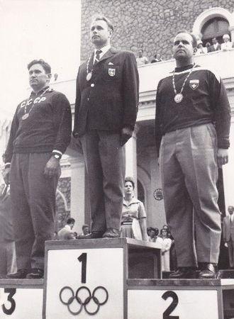 Shooting at the 1960 Summer Olympics – Men's 300 metre free rifle, three positions - Image: Vasily Borisov, Hubert Hammerer, Hans Rudolf Spillmann 1960