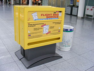 Hand luggage - Vending machine for carry-on luggage plastic bags at Munich Airport