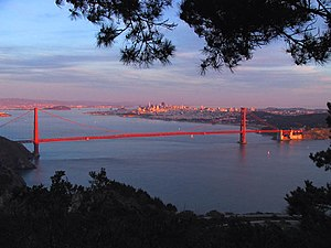 Marin Headlands - View of Golden Gate Bridge and San Francisco from Hawk Hill.