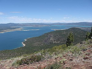 Eagle Lake (Lassen County) - The lake and its surroundings from a small peak above