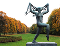 Vigeland InstallatIon sculpture and autumn foliage in Frogner Park in Oslo Norway.png