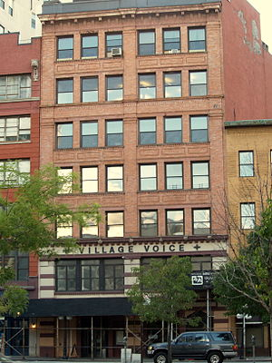 Jack Newfield - Village Voice offices on Cooper Square in New York City