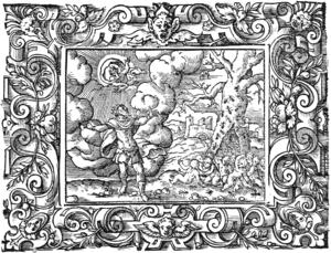 Aeacus - Myrmidons; People from ants for King Aeacus, engraving by Virgil Solis for Ovid's Metamorphoses Book VII, 622-642.