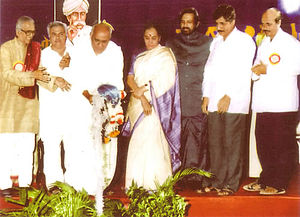 Suresh Kalmadi - Suresh Kalmadi at the inauguration of the First World Konkani Convention in 1995. He is dressed in a black coat, to the right.