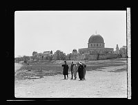 Visit of H.R.H. Princess Mary and the Earl of Harwood. March 1934. The royal guests leaving the temple area. At the Mosque el-Aksa (i.e., al-Aqsa), the Dome of the Rock LOC matpc.15797.jpg