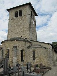 Vue de l'église de La Boisse depuis le cimetière.JPG