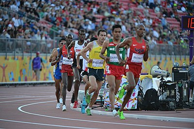 Athletics has been held at all seventeen editions of the Pan American Games. Pictured here is the 10,000 metres event for men at the 2015 edition in Toronto WCAP runners Aaron Rono, Shad Kipchirchir finish 2-4 in 10,000-meter run at 2015 Pan American Games photos by Tim Hipps, IMCOM Public Affairs (20578066843).jpg