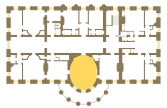 Yellow Oval Room - Location of the Yellow Oval Room on the second floor of the White House.