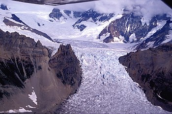 A glacier in Wrangell-St. Elias National Park ...