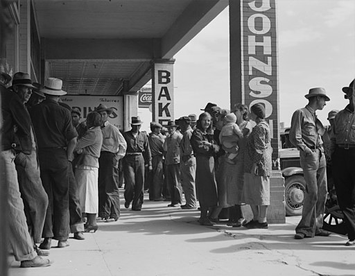 Waiting for relief checks during Great depression. Public Domain.