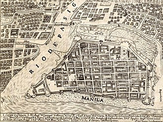 1734 map of the Walled City of Manila. The city was planned according to the Laws of the Indies. Walled City of Manila, detail from Carta Hydrographica y Chorographica de las Yslas Filipinas (1734).jpg