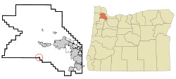 Washington County Oregon Incorporated and Unincorporated areas Gaston Highlighted.svg