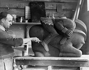Waylande Gregory - Waylande Gregory working on one of the six ceramic figures comprised in Light Dispelling Darkness (1937), a Federal Art Project sculpture at Roosevelt Park in Edison, New Jersey