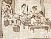 Weighing and sorting the cocoons (Sericulture by Liang Kai, 1200s).jpg