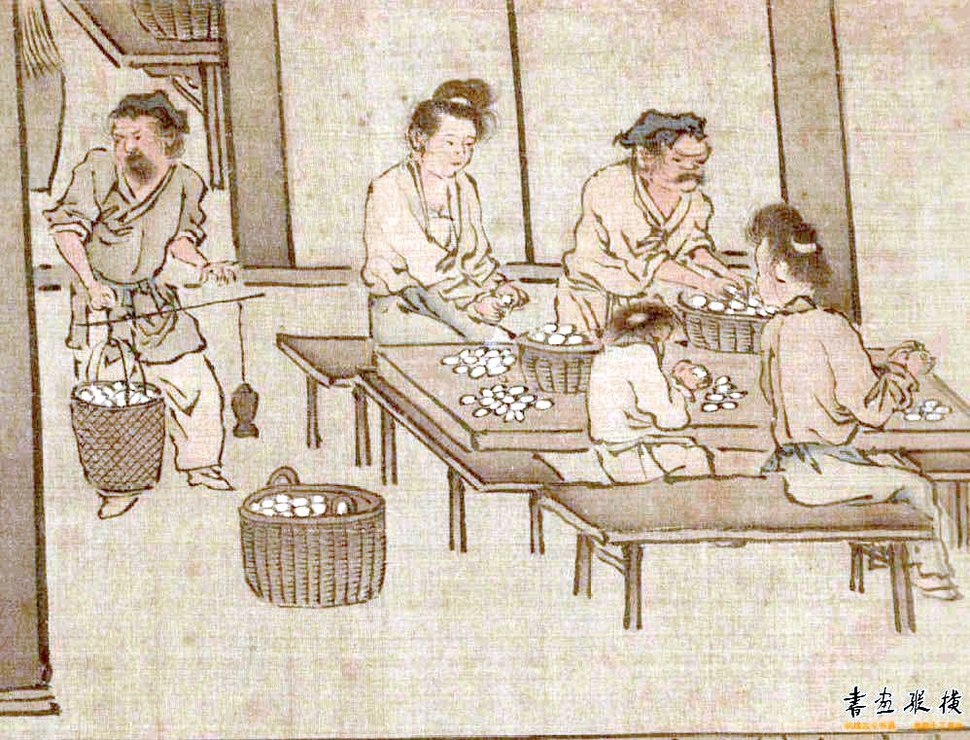 Weighing and sorting the cocoons (Sericulture by Liang Kai, 1200s)