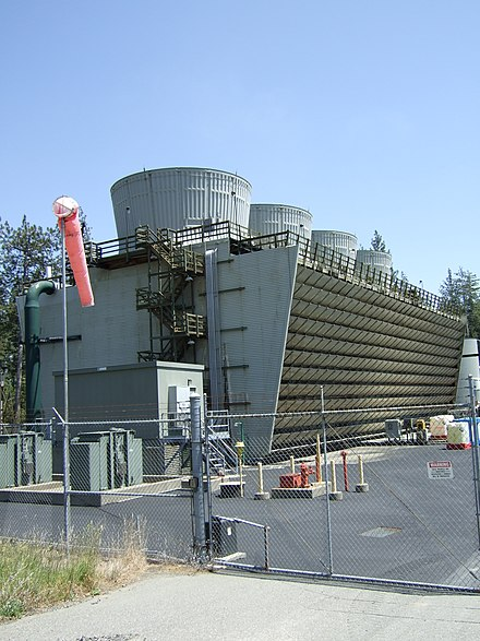 One of many power plants at The Geysers, a geothermal power field in northern California, with a total output of over 750 MW West Ford Flat Geothermal Cooling Tower.JPG