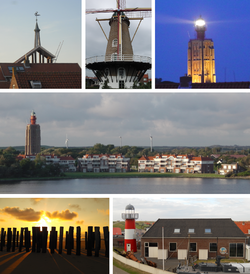 Images from left to right; Tower of the old municipality building, old windmill, tall lighthouse, skyline, beach, Polderhuis museum