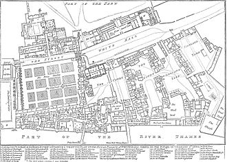 "Cockpit-in-Court - A retrospective plan of Whitehall Palace as it was in 1680, by Fisher.  The Cockpit is the octagonal building near the top left corner.  The Banqueting House is just to the left of the centre.  Whitehall follows the line of the road marked ""White Hall"" from the right and continues through the west side of the Privy Garden. North is to the right."