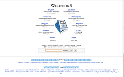 Detail of the Wikibooks main page. All major Wikibooks projects are listed by number of articles.