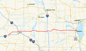Wisconsin Highway 21 - Image: Wis 21 map