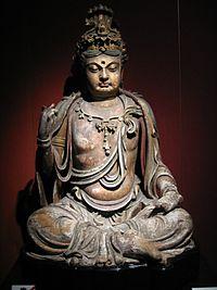 A wooden Bodhisattva statue, Jin Dynasty, Shanghai Museum.