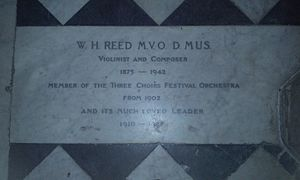 William Henry Reed - Worcester Cathedral, grave of William Henry Reed in the nave